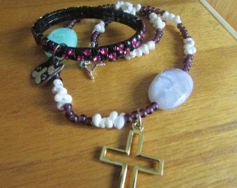 beaded cross pendant necklace plus
