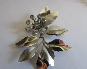 Big rhinestone flower brooch
