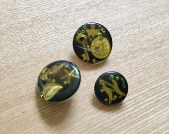 3 Unique Vintage Old Buttons with Seals, Seahorse and Coin