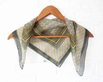 Vintage Green Scarf - Italian Scarf- Green Geometric Pocket Square - Green Plaid Handkerchief Polyester - Green and Gold - Stocking Stuffer