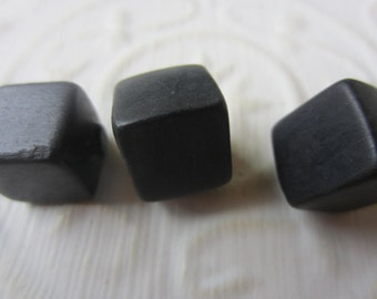 Vintage Buttons - lot of 3 matching square and cube design black toggles (sept 347)