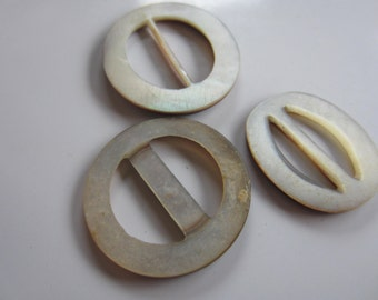 Vintage Belt Buckles 3 assorted beautiful mother of pearl, belt buckle, medium size, oval, and round (nov 216b)