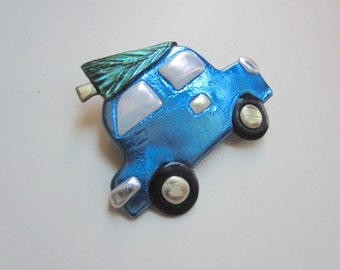 Blue Car with Christmas Tree Pin Brooch