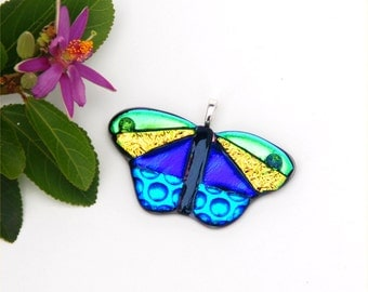 Butterfly pendant, fused dichroic glass, yellow, green, purple, blue