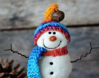 Snowman - handmade - needle felted- one of a kind -  737