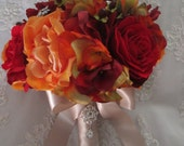 Reserved listing for...jdaffer...Orange and Red Autumn and Fall Rich Romantic Bridal Bridesmaids Boutonniere Destination Wedding Bouquet Set