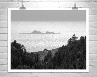 Marin County Art, Pacific Coast, Black and White, Art Photography, Farallon Islands, Ocean Print, Coastal Art, California Coast, Tamalpais