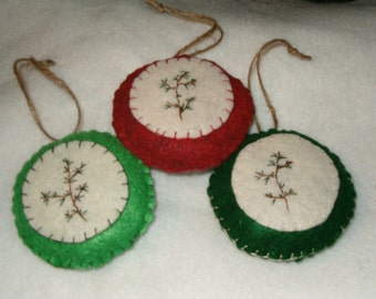 Prim Felt Pine Branch Ornaments
