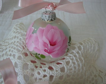 Glass Ball Ornament Hand Painted Pink Roses Metallic Silver