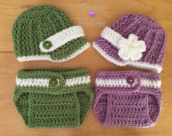 Newborn twin set... Newsboy hats and diaper covers set... Photography prop... Ready to ship
