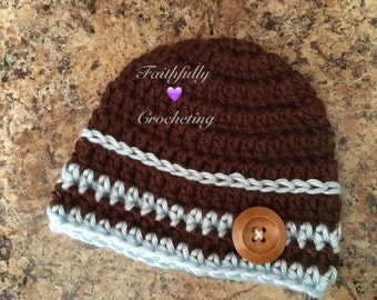 Newborn boy hat.. Photo prop.. Ready to ship.. Chocolate brown and baby blue.. Wood button
