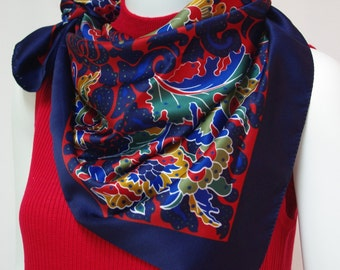 Vintage scarf Navy blue floral scarf Large square scarf Navy blue olive green old gold red flower print scarf Fall and winter scarf