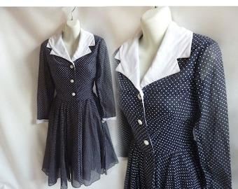 Vintage 60s Dress Size M Navy Blue Polka Dot Mod Cotton Shirtwaist Circle Skirt