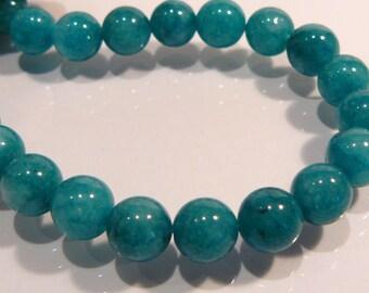 Dark Azure Sea Green Smooth Round Jade Gemstone Beads....8 Beads....8mm