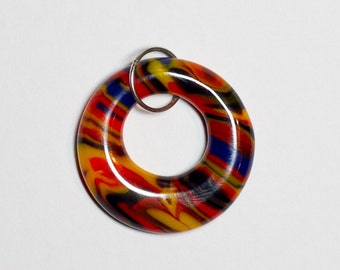 Orange/Yellow/Blue/Red fused glass donut pendant - 216