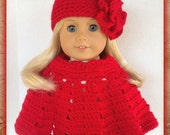 Doll Clothes Made To Fit American Girl, Crochet 2 Pc Poncho Set, Large Flower Hat,  Crimson Red, Fits18 Inch