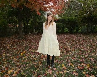 S-M Hooded Buttercream Upcycled Sweater Dress// emmevielle