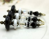 Vintage Style Black and White Long Bead Dangle Charm Set - Earring Dangle, Charm, Necklace Pendant, Pendant, Drop