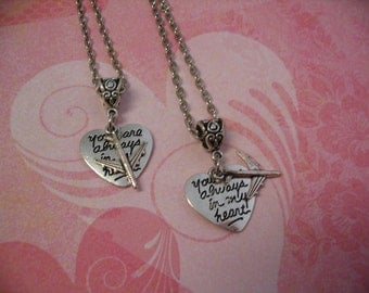 Long Distance Always In My Heart Necklaces with Airplane Charm for Friends or Sisters Mother Daughter