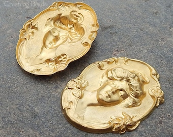 Vintage Raw Brass Cameo Stampings with Gingerbread Patina - 43x55 mm Oval Victorian Portrait (2 pc)