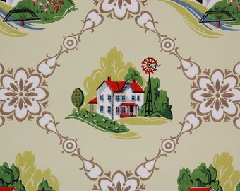 1940's Vintage Wallpaper Farm House Windmill Apple Orchard on Yellow
