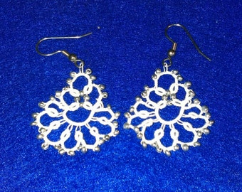 Silver beads on white Tatted Earrings.