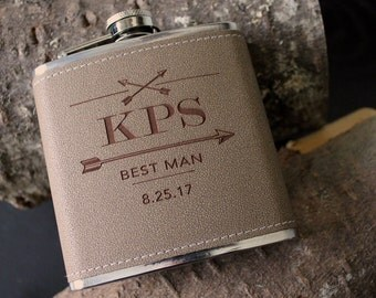 Flask | Customizable ARROW design, multiple quantities for groomsman gift