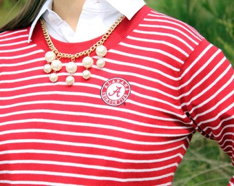 Alabama Striped Game Day Sweater, Alabama Sweater, Bama, Game Day, Roll Tide, University of Alabama Sweater, Crimson Tide