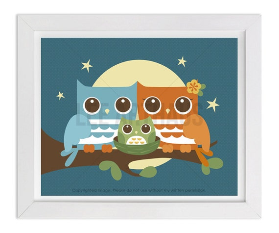 88 Owl Print - Moonlight Owls with Baby Boy Wall Art - Owl Family - Owl Prints - Retro Owls - Woodland Owl Nursery - Owl Baby - Owl Print