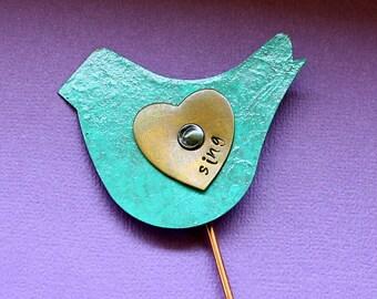 Bird Plant Pick - Sing - Hand Stamped Plant Decoration