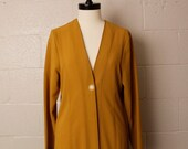 Vintage 1990's 1920's Style Long Jacket Mustard Crepe