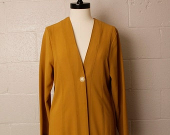 Vintage 1990's 1920's Style Long Jacket Mustard Crepe