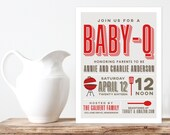 BABY Q Invitation - BabyQ Baby Shower Invitation - Backyard BBQ Invite - Co-Ed Baby Shower Invite - Digital File - Printable