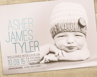 modern birth announcement, photo baby announcement, baby boy announcement, girl birth announcement, unique baby, digital announcement