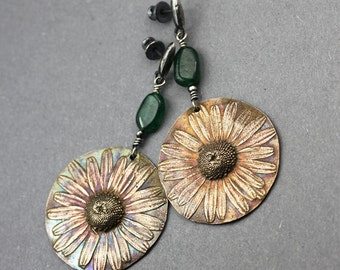 Summer flowers - bronze and silver earrings with aventurines