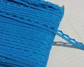 """Blue Cluny Lace - Dark Aqua Narrow Cluny Crochet Torchon Trim - 1/2"""" Wide"""