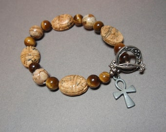 Desert Magic - Tigers Eye and Picture Jasper Carved Scarab Beetle Isis Charm Toggle Clasp Bracelet