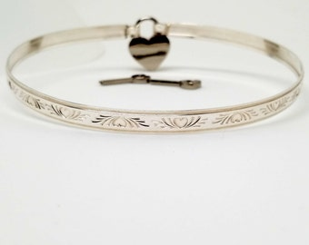 Made To Size Sterling Silver Locking Slave Collar Bas Relief Heart Motif
