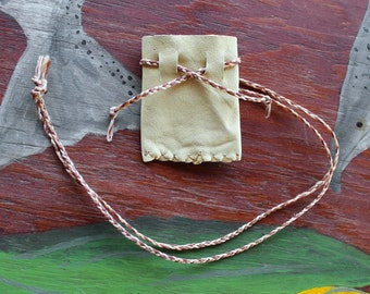 Recycled deerskin necklace pouch for crystals, herbs, fetiches, medicine, and other small sacred objects