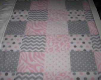 Fleece Patchwork Pink Gray White Baby Blanket