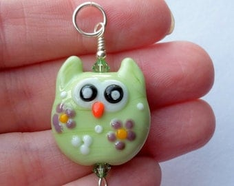 Mint Green Owl Floral Lampwork Glass Bead Focal Pendant by keiara SRA