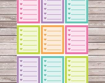 Spring Solid List Set of 9 Full Boxes Planner Stickers Erin Condren Planner Stickers, ECLP, Filofax, Kikki K, Mambi