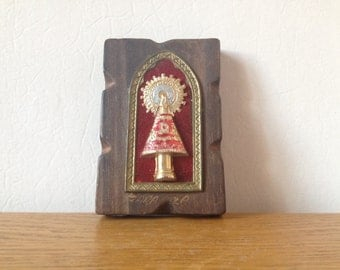 FOUND IN SPAIN -- Small wooden wall hanging with religious imagery