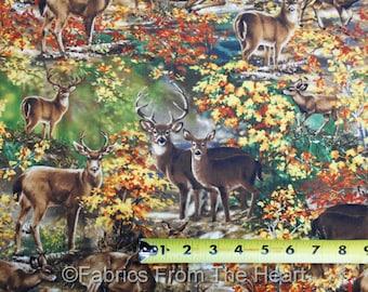 Autumn Fall Woods Deer Bucks Fawns Tree BY YARDS Timeless Treasure Cotton Fabric