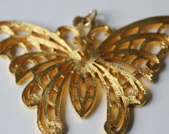 Vintage Butterfly Pendant Gold Tone Large Jewelry Making Supplies Large Pendant