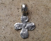 Small Hammered Rustic Pewter Cross