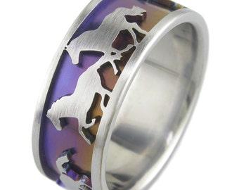 Wild Horses Titanium Ring