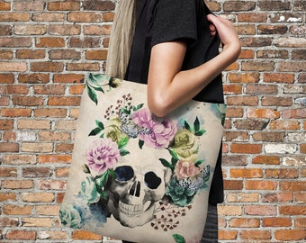 "Sugar Skull Tote Bag Over Sized 18"" x 18""  Vintage Floral"