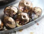 10% off BRONZE PLUM LOVE .. 6 Picasso Czech Chunky Glass Beads 9x14mm (4609-6)