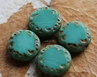 10% off SLICED TURQUOISE .. 4 Picasso Czech Glass Coin Beads 14x5mm (2418-4)